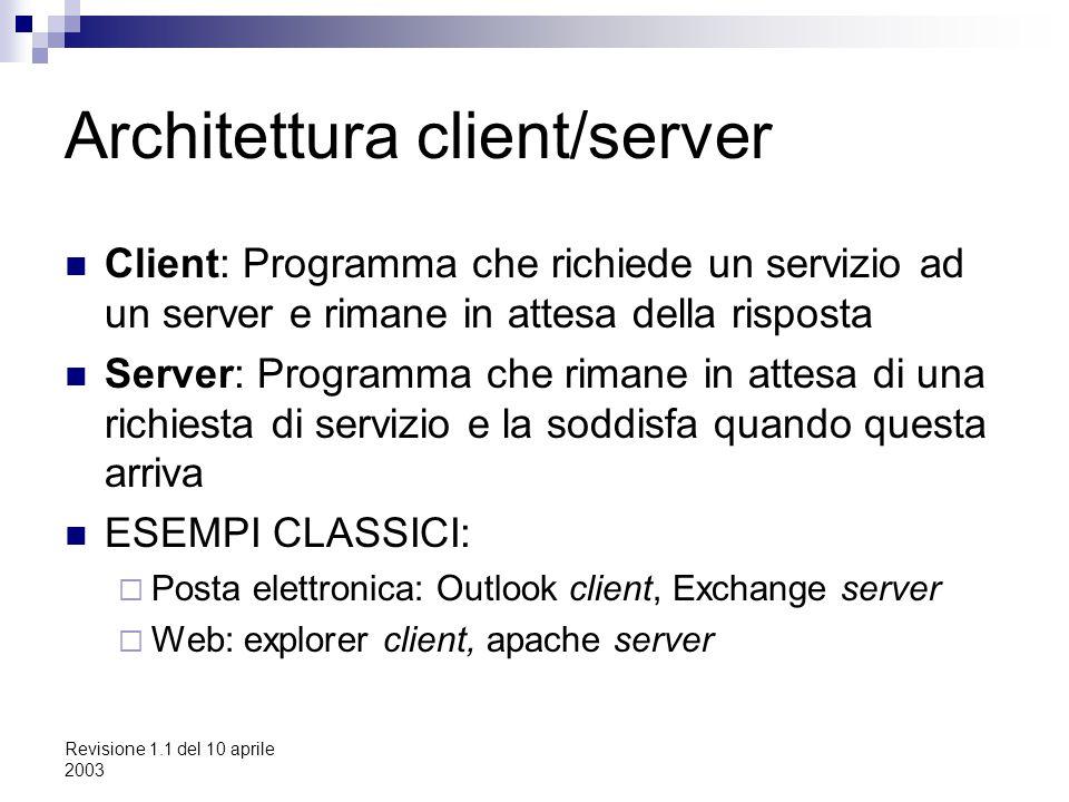 Revisione 1.1 del 10 aprile 2003 Architettura client/server Client: Programma che richiede un servizio ad un server e rimane in attesa della risposta