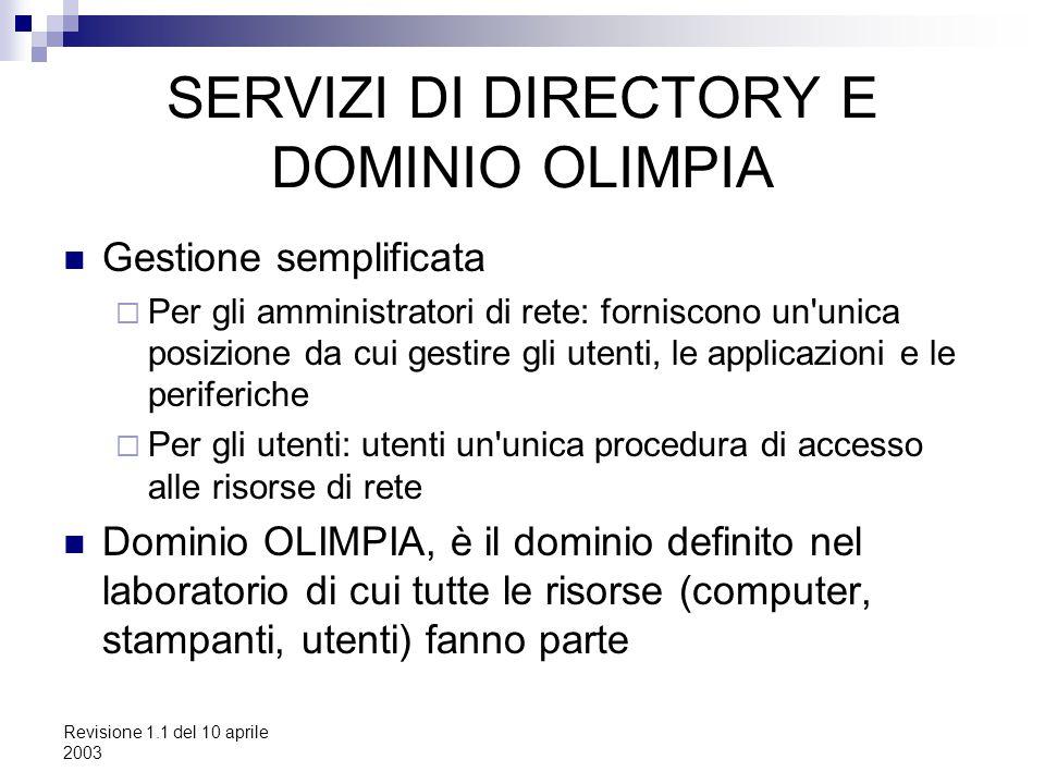 Revisione 1.1 del 10 aprile 2003 SERVIZI DI DIRECTORY E DOMINIO OLIMPIA Gestione semplificata  Per gli amministratori di rete: forniscono un'unica po