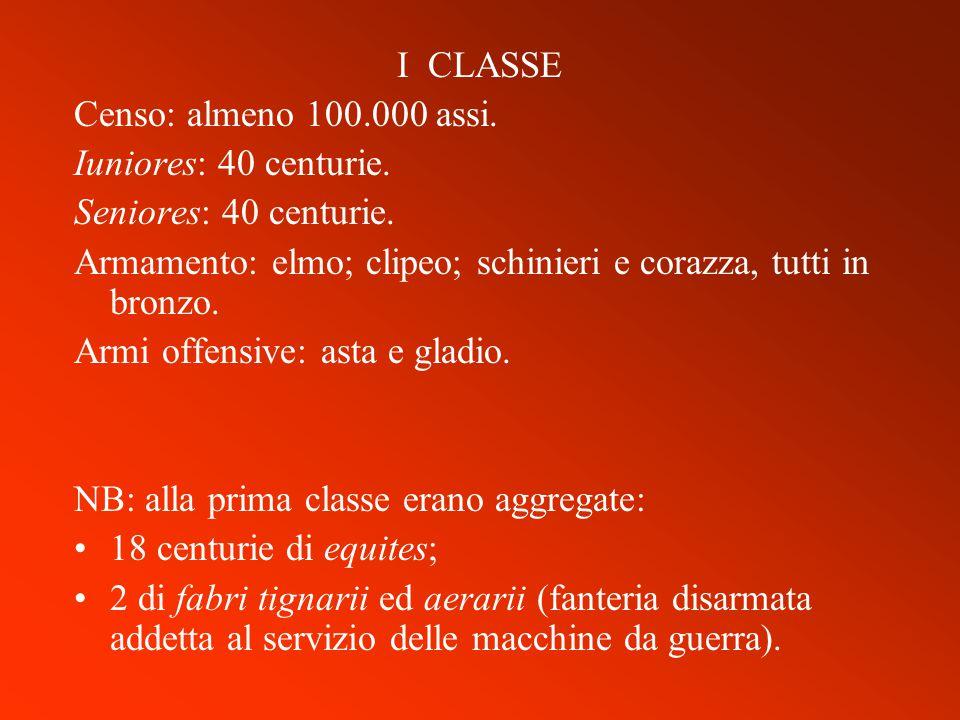 I CLASSE Censo: almeno 100.000 assi. Iuniores: 40 centurie. Seniores: 40 centurie. Armamento: elmo; clipeo; schinieri e corazza, tutti in bronzo. Armi