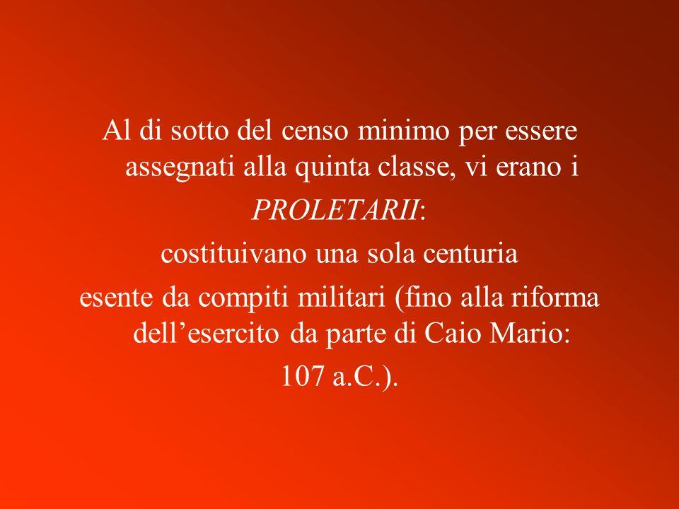 Al di sotto del censo minimo per essere assegnati alla quinta classe, vi erano i PROLETARII: costituivano una sola centuria esente da compiti militari (fino alla riforma dell'esercito da parte di Caio Mario: 107 a.C.).