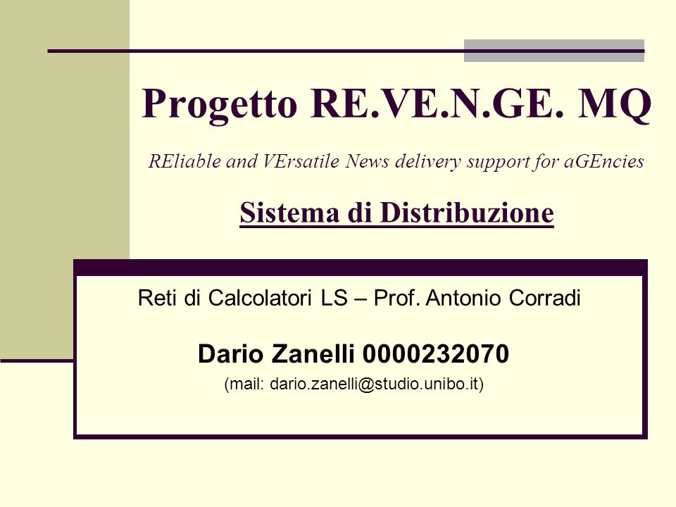 Progetto RE.VE.N.GE.