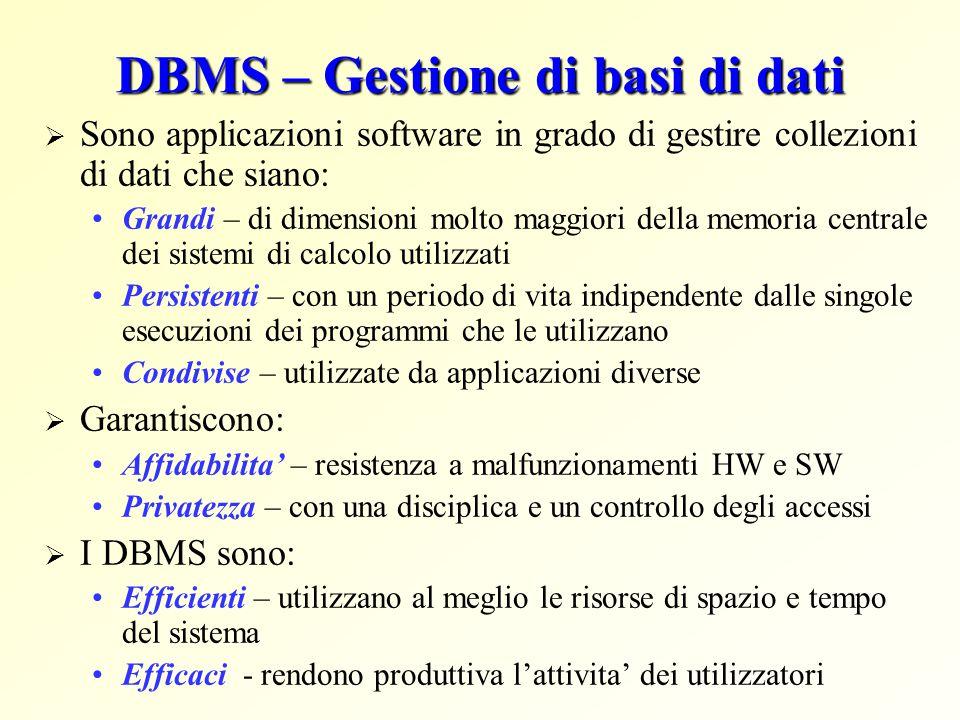 DBMS – Gestione di basi di dati  Sono applicazioni software in grado di gestire collezioni di dati che siano: Grandi – di dimensioni molto maggiori d
