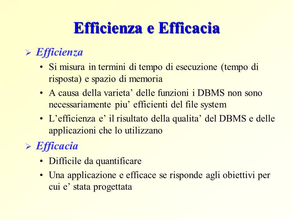 Efficienza e Efficacia  Efficienza Si misura in termini di tempo di esecuzione (tempo di risposta) e spazio di memoria A causa della varieta' delle f