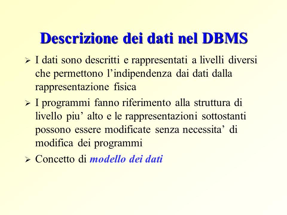 Descrizione dei dati nel DBMS  I dati sono descritti e rappresentati a livelli diversi che permettono l'indipendenza dai dati dalla rappresentazione