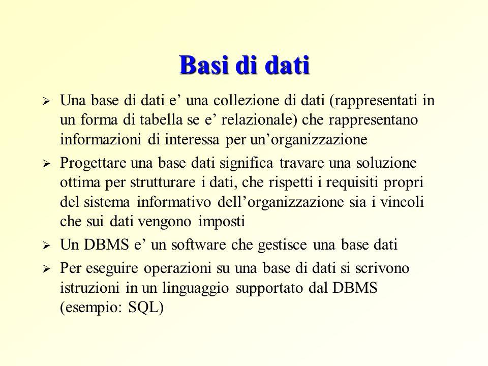 Basi di dati  Una base di dati e' una collezione di dati (rappresentati in un forma di tabella se e' relazionale) che rappresentano informazioni di i