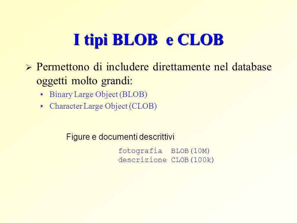 I tipi BLOB e CLOB  Permettono di includere direttamente nel database oggetti molto grandi: Binary Large Object (BLOB) Character Large Object (CLOB)