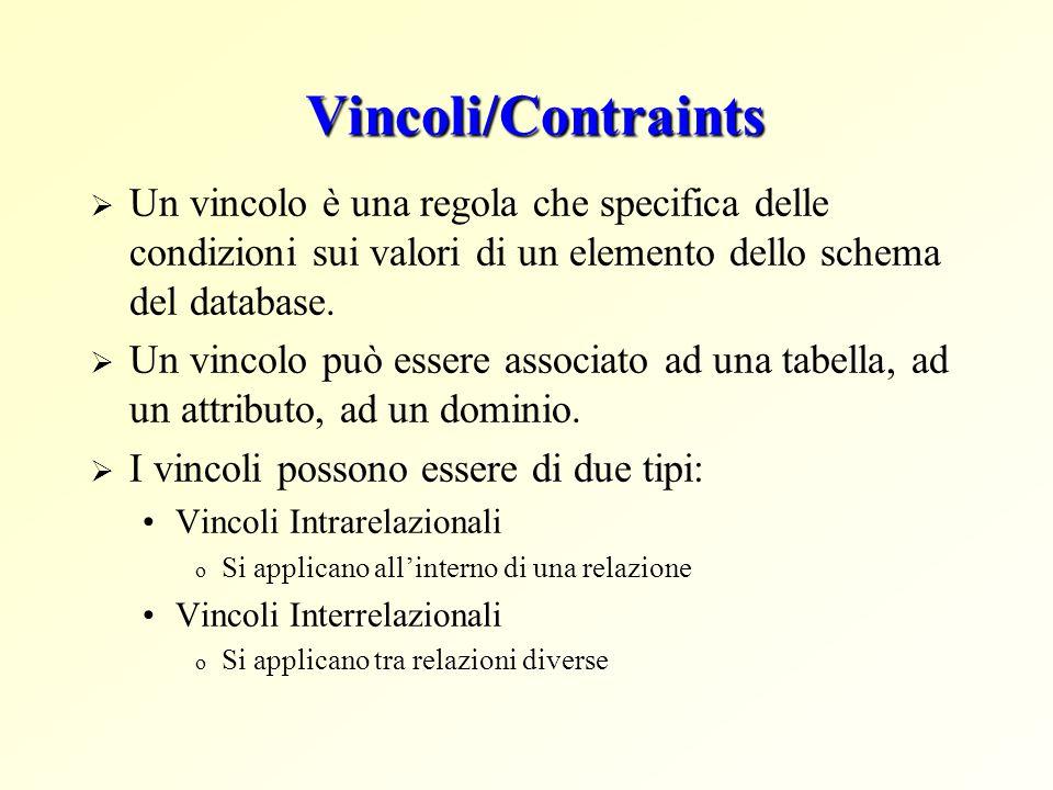 Vincoli/Contraints  Un vincolo è una regola che specifica delle condizioni sui valori di un elemento dello schema del database.  Un vincolo può esse