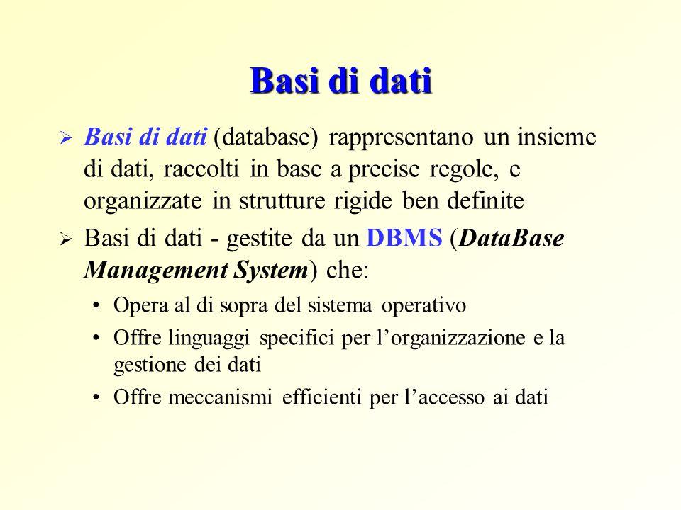 Basi di dati  Basi di dati (database) rappresentano un insieme di dati, raccolti in base a precise regole, e organizzate in strutture rigide ben defi