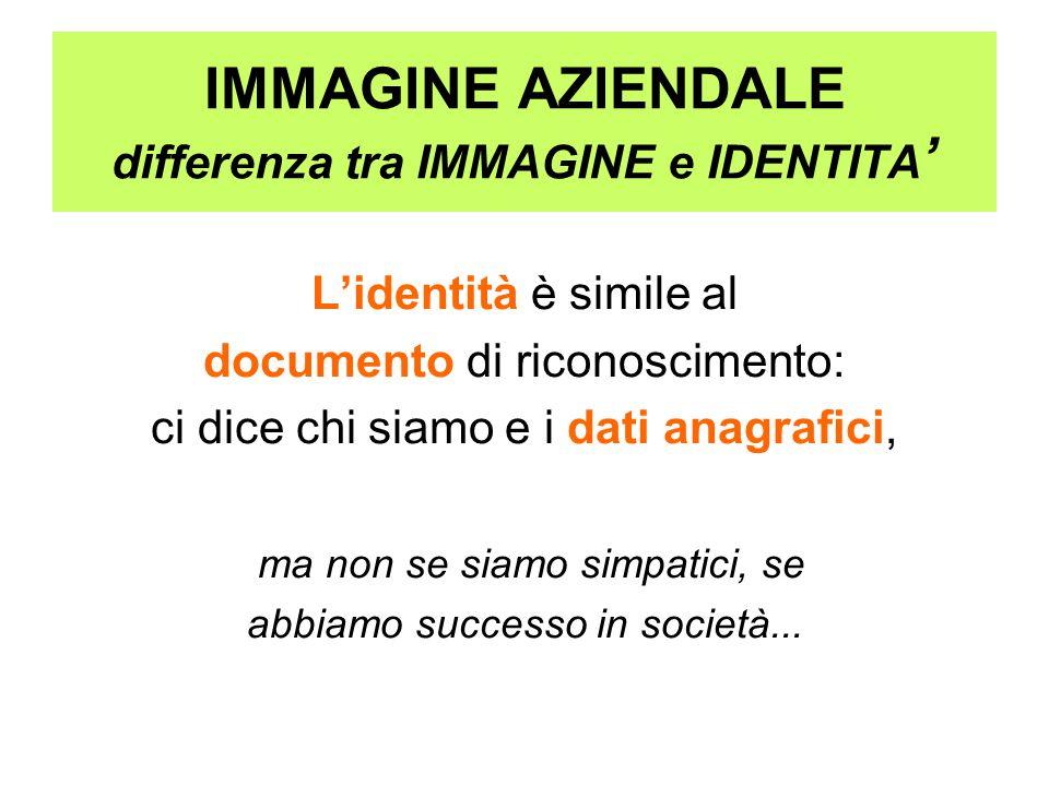 IMMAGINE AZIENDALE differenza tra IMMAGINE e IDENTITA ' L'identità è simile al documento di riconoscimento: ci dice chi siamo e i dati anagrafici, ma