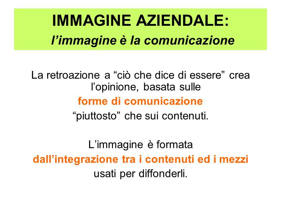 """IMMAGINE AZIENDALE: l'immagine è la comunicazione La retroazione a """"ciò che dice di essere"""" crea l'opinione, basata sulle forme di comunicazione """"piut"""
