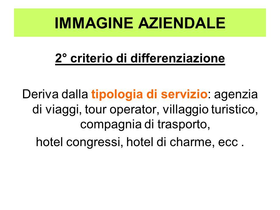 IMMAGINE AZIENDALE 2° criterio di differenziazione Deriva dalla tipologia di servizio: agenzia di viaggi, tour operator, villaggio turistico, compagni