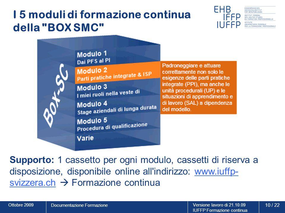 Ottobre 2009Versione lavoro di 21.10.09 IUFFP Formazione continua 10 / 22 Documentazione Formazione I 5 moduli di formazione continua della