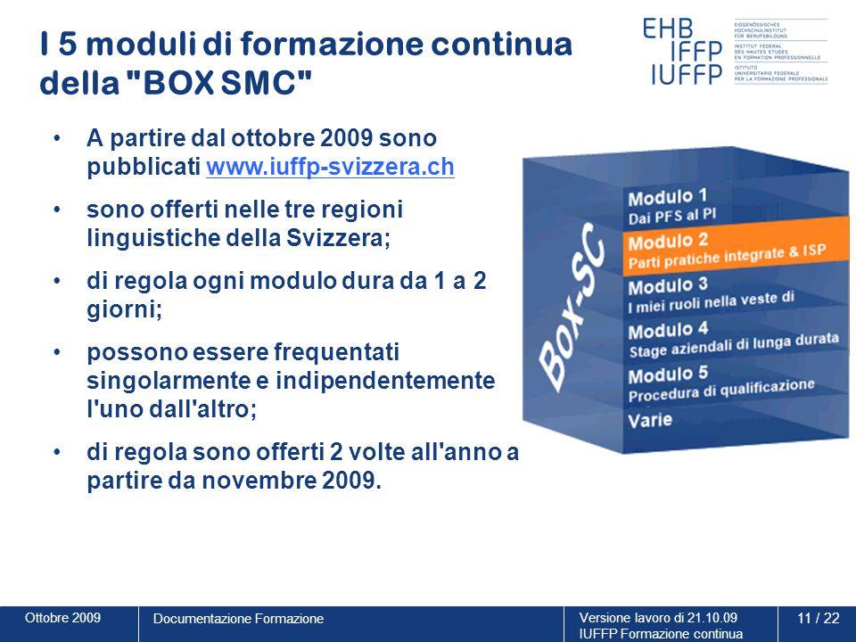 Ottobre 2009Versione lavoro di 21.10.09 IUFFP Formazione continua 11 / 22 Documentazione Formazione I 5 moduli di formazione continua della
