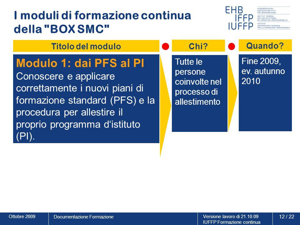 Ottobre 2009Versione lavoro di 21.10.09 IUFFP Formazione continua 12 / 22 Documentazione Formazione I moduli di formazione continua della