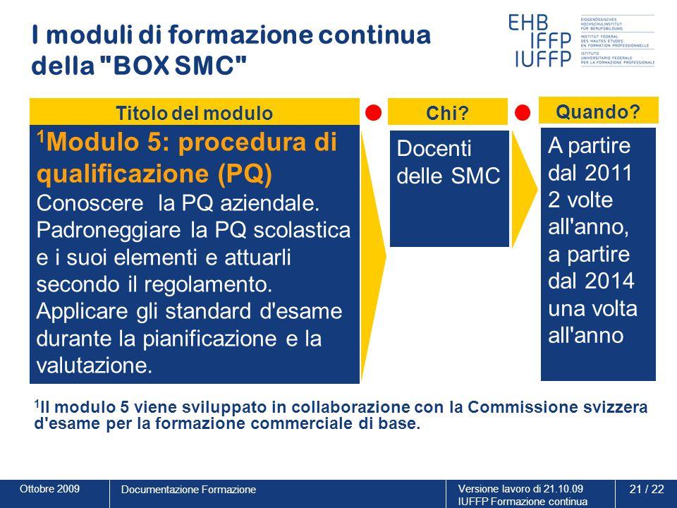 Ottobre 2009Versione lavoro di 21.10.09 IUFFP Formazione continua 21 / 22 Documentazione Formazione I moduli di formazione continua della