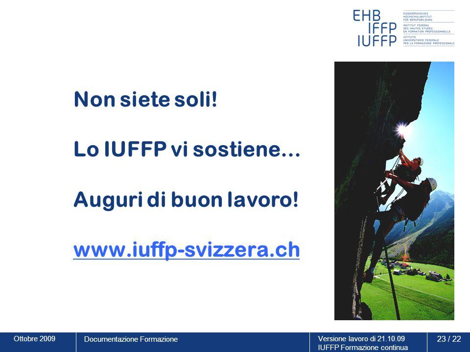 Ottobre 2009Versione lavoro di 21.10.09 IUFFP Formazione continua 23 / 22 Documentazione Formazione Non siete soli! Lo IUFFP vi sostiene… Auguri di bu