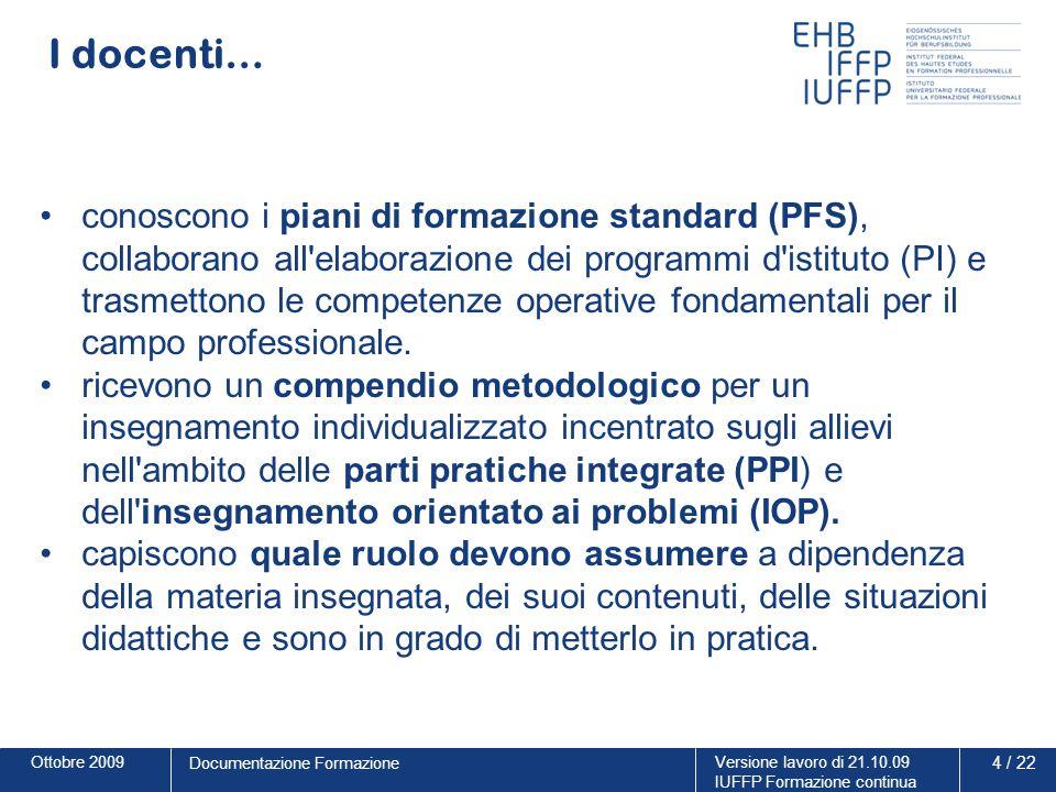 Ottobre 2009Versione lavoro di 21.10.09 IUFFP Formazione continua 4 / 22 Documentazione Formazione I docenti… conoscono i piani di formazione standard