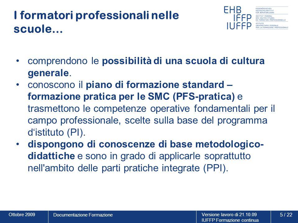 Ottobre 2009Versione lavoro di 21.10.09 IUFFP Formazione continua 5 / 22 Documentazione Formazione I formatori professionali nelle scuole… comprendono