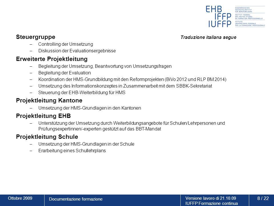 Ottobre 2009Versione lavoro di 21.10.09 IUFFP Formazione continua 19 / 22 Documentazione formazione Contenuti del modulo 4: periodo di pratica di lunga durata Illustrare alle aziende in cui si svolgono gli stage aziendali (SA) le novità compresi i doveri conseguenti.