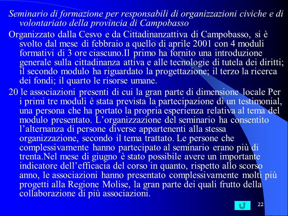 21 Programma di comunità E' il titolo di un progetto sperimentale che le Asl di Grosseto e Rimini, in collaborazione con varie cooperative sociali e organizzazioni civiche hanno avviato in queste due città fino dal 1999.