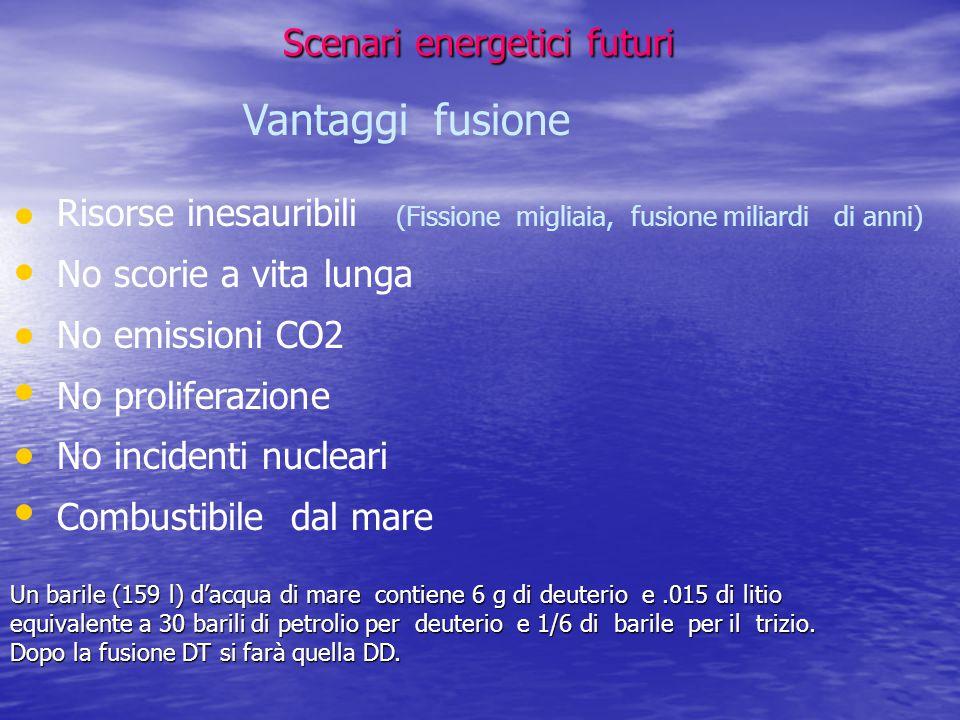 Scenari energetici futuri Scenari energetici futuri Vantaggi fusione Risorse inesauribili (Fissione migliaia, fusione miliardi di anni) No scorie a vi