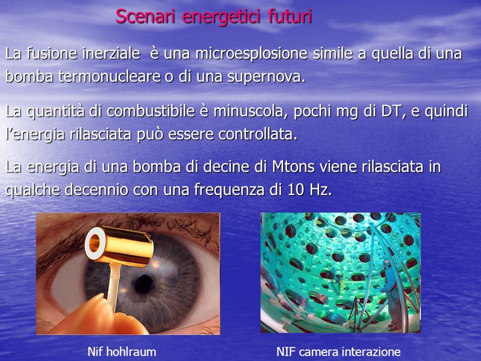Scenari energetici futuri Scenari energetici futuri La fusione inerziale è una microesplosione simile a quella di una bomba termonucleare o di una sup