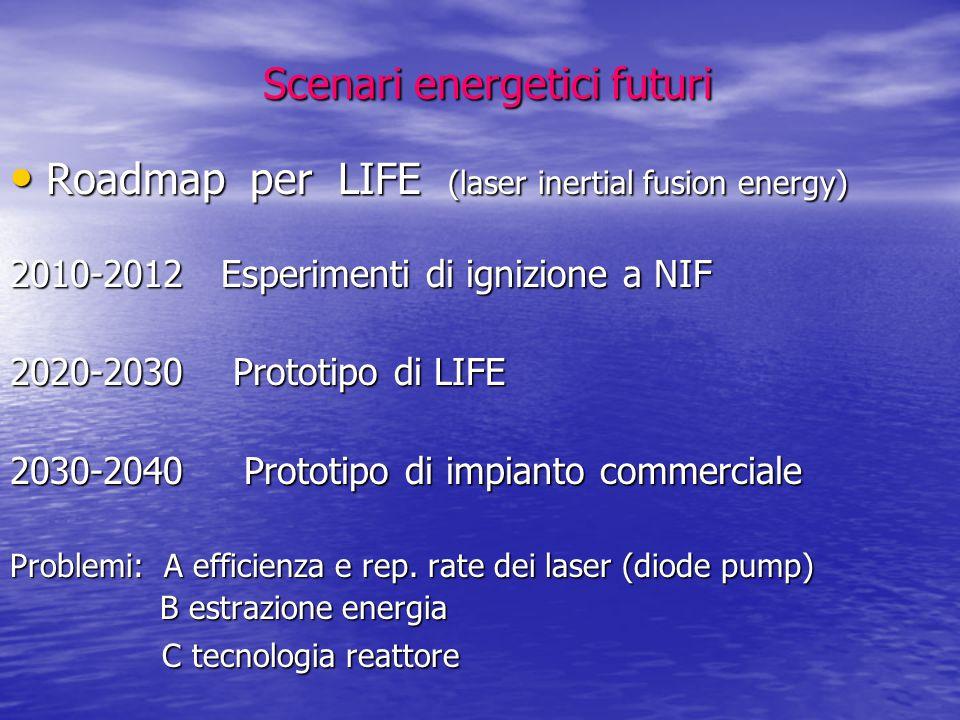 Scenari energetici futuri Scenari energetici futuri Roadmap per LIFE (laser inertial fusion energy) Roadmap per LIFE (laser inertial fusion energy) 20
