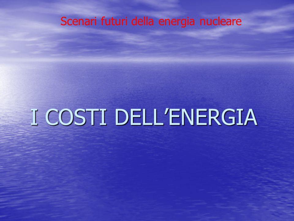 Scenari futuri della energia nucleare I COSTI DELL'ENERGIA I COSTI DELL'ENERGIA