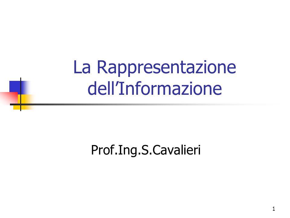 1 La Rappresentazione dell'Informazione Prof.Ing.S.Cavalieri