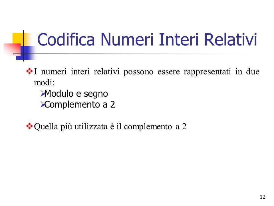 12  I numeri interi relativi possono essere rappresentati in due modi:  Modulo e segno  Complemento a 2  Quella più utilizzata è il complemento a