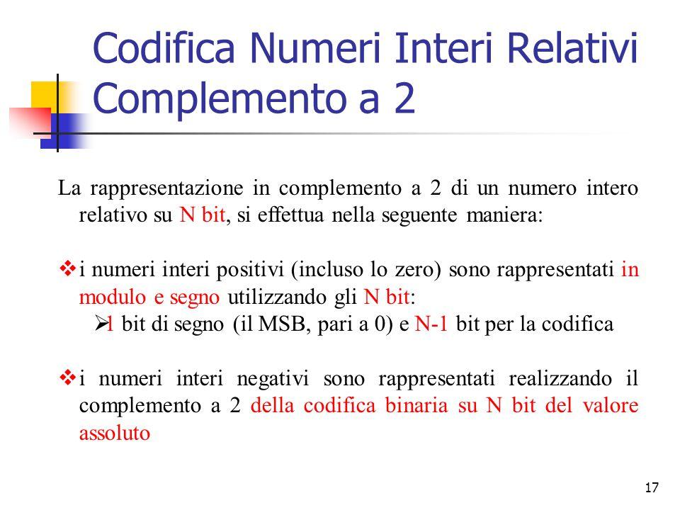 17 La rappresentazione in complemento a 2 di un numero intero relativo su N bit, si effettua nella seguente maniera:  i numeri interi positivi (inclu