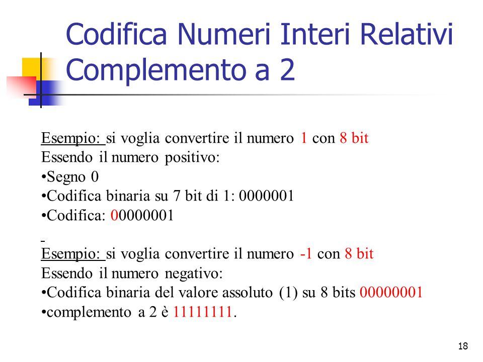 18 Esempio: si voglia convertire il numero 1 con 8 bit Essendo il numero positivo: Segno 0 Codifica binaria su 7 bit di 1: 0000001 Codifica: 00000001