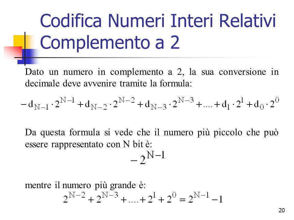 20 Dato un numero in complemento a 2, la sua conversione in decimale deve avvenire tramite la formula: Da questa formula si vede che il numero più pic