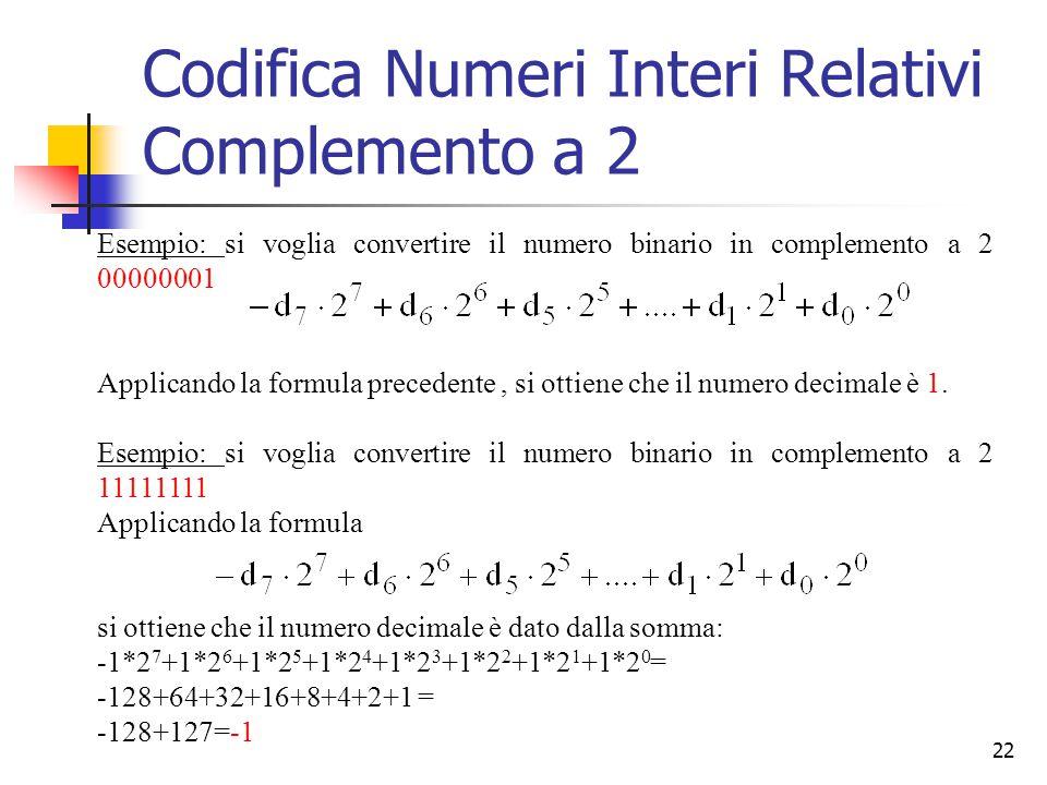22 Esempio: si voglia convertire il numero binario in complemento a 2 00000001 Applicando la formula precedente, si ottiene che il numero decimale è 1