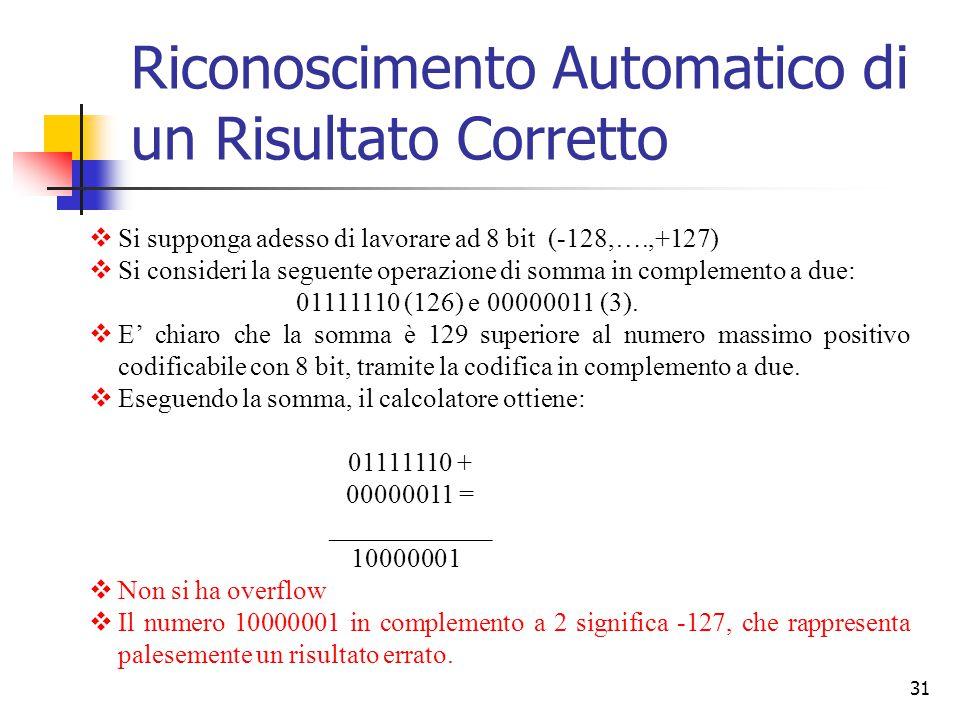 31  Si supponga adesso di lavorare ad 8 bit (-128,….,+127)  Si consideri la seguente operazione di somma in complemento a due: 01111110 (126) e 0000