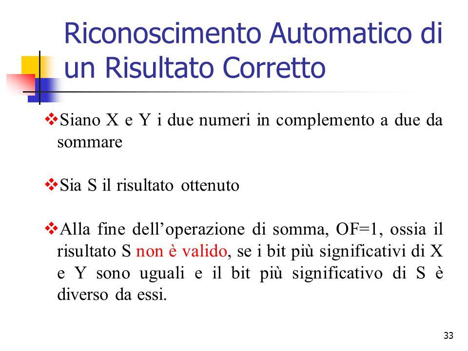 33  Siano X e Y i due numeri in complemento a due da sommare  Sia S il risultato ottenuto  Alla fine dell'operazione di somma, OF=1, ossia il risul