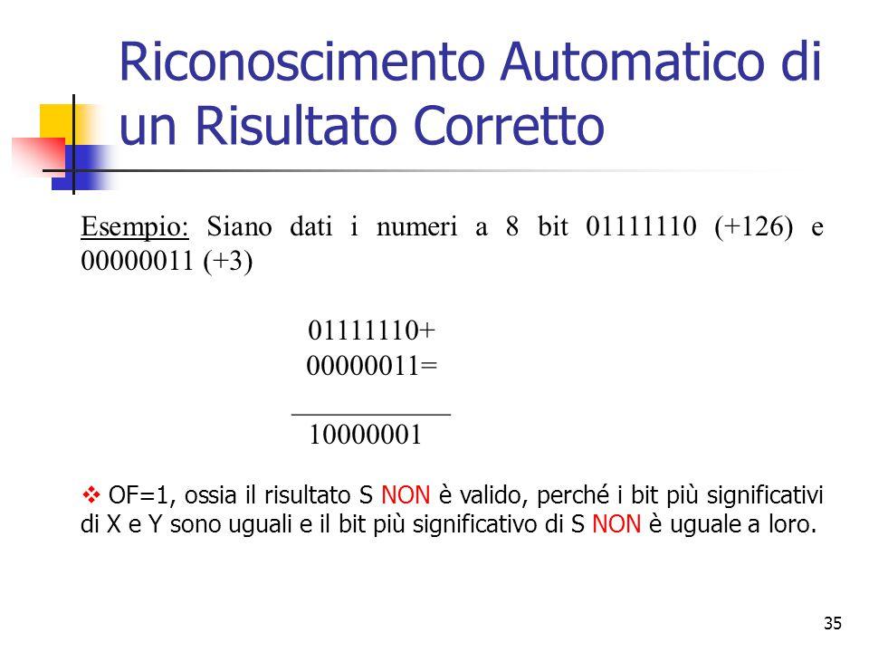 35 Esempio: Siano dati i numeri a 8 bit 01111110 (+126) e 00000011 (+3) 01111110+ 00000011= ___________ 10000001  OF=1, ossia il risultato S NON è va