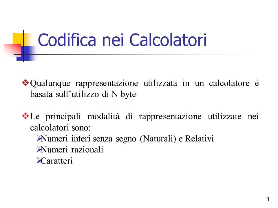 4  Qualunque rappresentazione utilizzata in un calcolatore è basata sull'utilizzo di N byte  Le principali modalità di rappresentazione utilizzate n