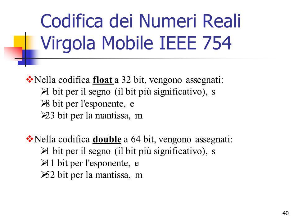 40 Codifica dei Numeri Reali Virgola Mobile IEEE 754  Nella codifica float a 32 bit, vengono assegnati:  1 bit per il segno (il bit più significativ