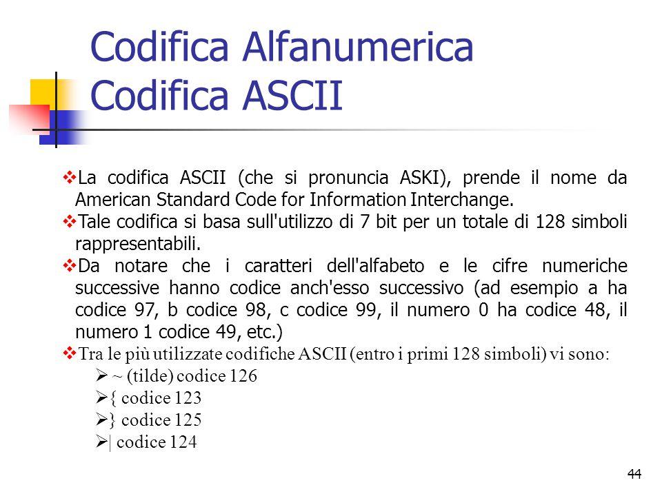44 Codifica Alfanumerica Codifica ASCII 2.Codici Alfanumerici L'evoluzione dei calcolatori li ha portati a diventare, oltre che elaboratori di numeri,