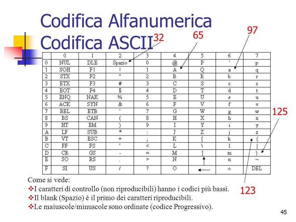 45 2.Codici Alfanumerici L'evoluzione dei calcolatori li ha portati a diventare, oltre che elaboratori di numeri, anche elaboratori di altri tipi di i