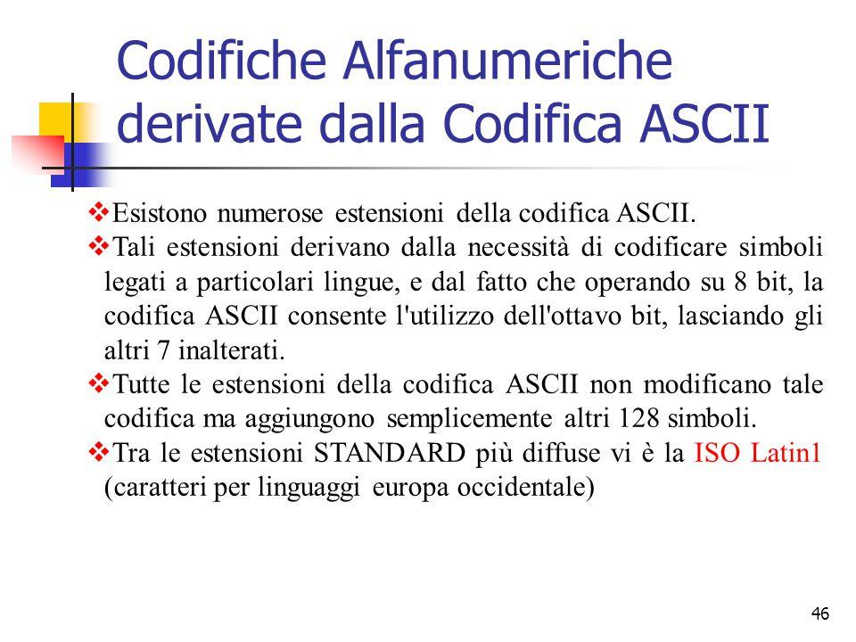 46 Codifiche Alfanumeriche derivate dalla Codifica ASCII  Esistono numerose estensioni della codifica ASCII.  Tali estensioni derivano dalla necessi