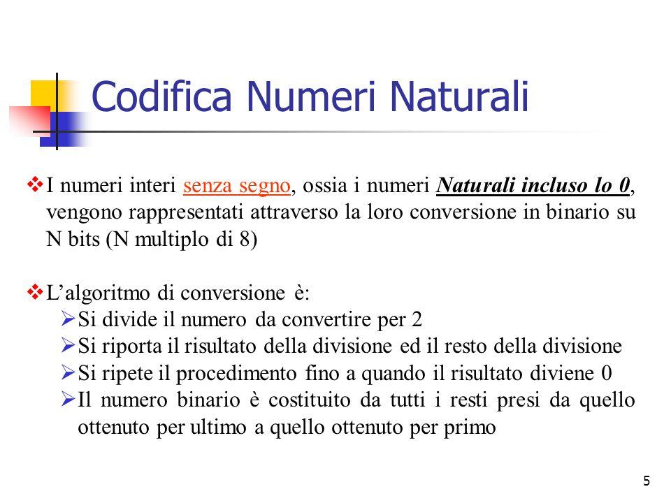 5  I numeri interi senza segno, ossia i numeri Naturali incluso lo 0, vengono rappresentati attraverso la loro conversione in binario su N bits (N mu