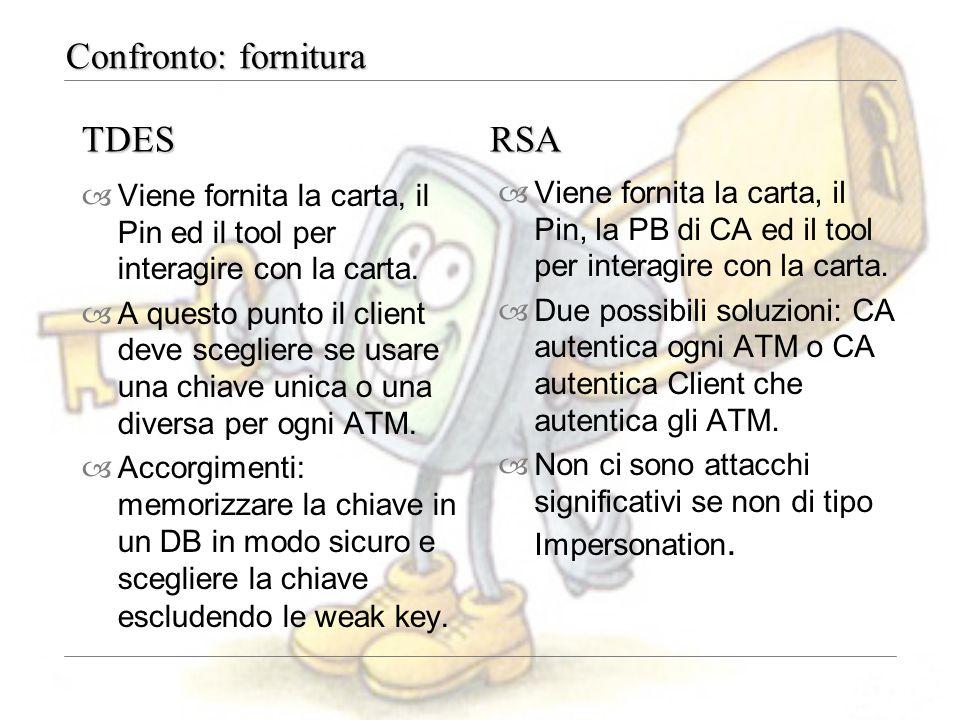 Confronto: fornitura –Viene fornita la carta, il Pin ed il tool per interagire con la carta. –A questo punto il client deve scegliere se usare una chi