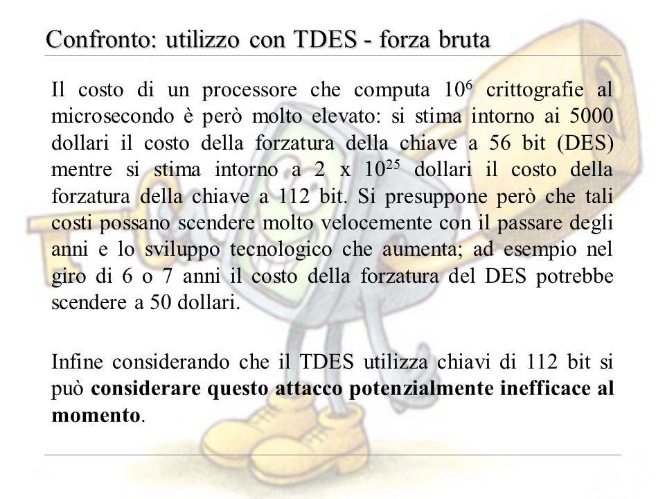 Confronto: utilizzo con TDES - forza bruta Il costo di un processore che computa 10 6 crittografie al microsecondo è però molto elevato: si stima intorno ai 5000 dollari il costo della forzatura della chiave a 56 bit (DES) mentre si stima intorno a 2 x 10 25 dollari il costo della forzatura della chiave a 112 bit.