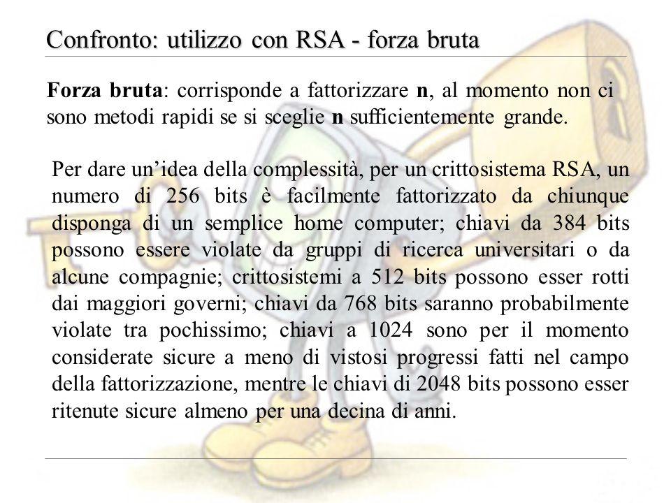 Confronto: utilizzo con RSA - forza bruta Forza bruta: corrisponde a fattorizzare n, al momento non ci sono metodi rapidi se si sceglie n sufficientemente grande.