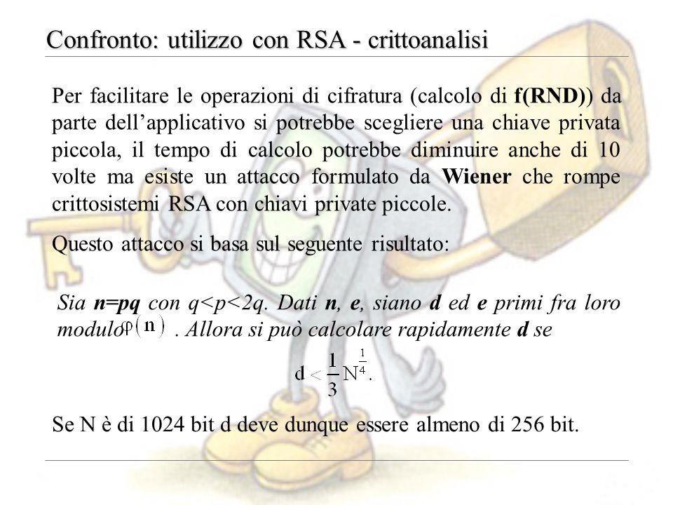 Confronto: utilizzo con RSA - crittoanalisi Se N è di 1024 bit d deve dunque essere almeno di 256 bit. Sia n=pq con q<p<2q. Dati n, e, siano d ed e pr