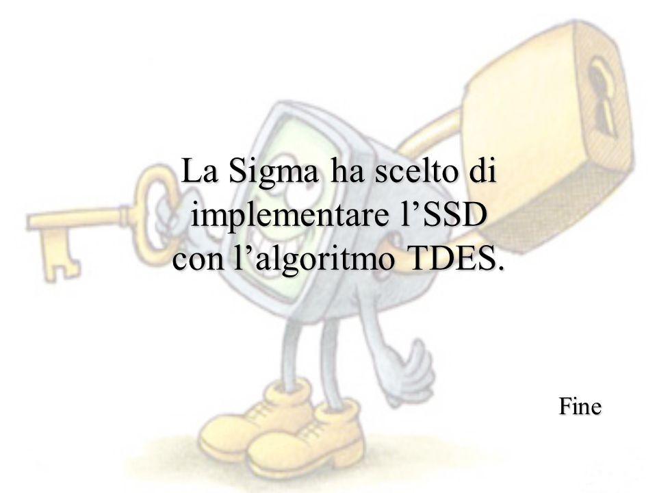 La Sigma ha scelto di implementare l'SSD con l'algoritmo TDES. Fine