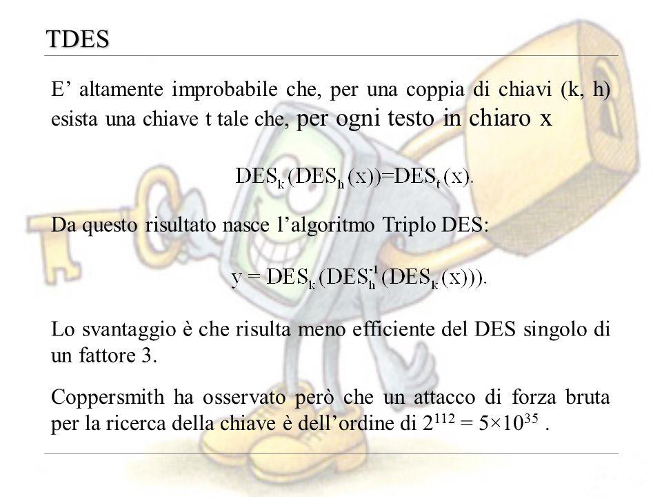TDES E' altamente improbabile che, per una coppia di chiavi (k, h) esista una chiave t tale che, per ogni testo in chiaro x Lo svantaggio è che risulta meno efficiente del DES singolo di un fattore 3.