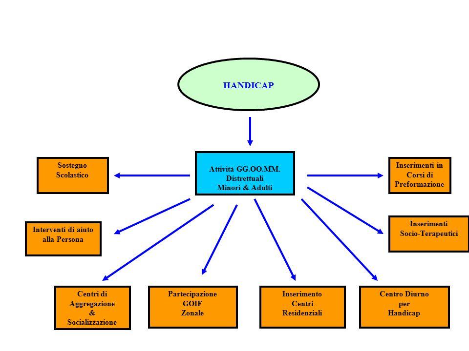 HANDICAP Attività GG.OO.MM. Distrettuali Minori & Adulti Centri di Aggregazione & Socializzazione Inserimento Centri Residenziali Inserimenti Socio-Te